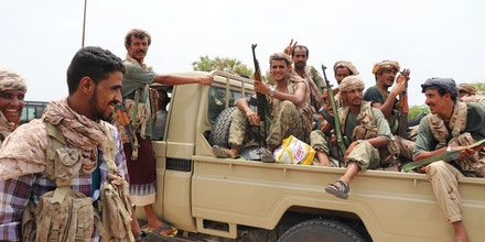 Yemeni Resistance Fighters in Al Hayma the day after pushing Houthi rebels out of the seaport.