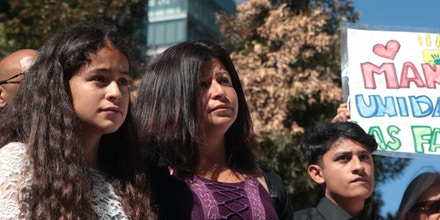 TPS holder Cristina Morales (center), her American citizen daughter Crista Morales (left), and Benjamin Zepeda (right) are plaintiffs in case against the Department of Homeland Security and the Trump administration.