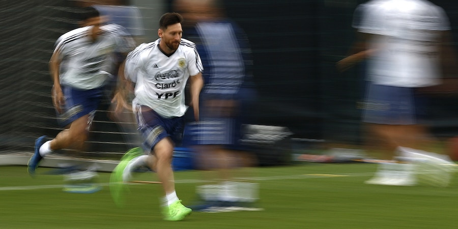 Argentina's Lionel Messi attends a team training session at the Sports Center FC Barcelona Joan Gamper, in Sant Joan Despi, Spain, Tuesday, June 5, 2018. Israel will play Argentina on Saturday June 9 in a friendly soccer match. (AP Photo/Manu Fernandez)