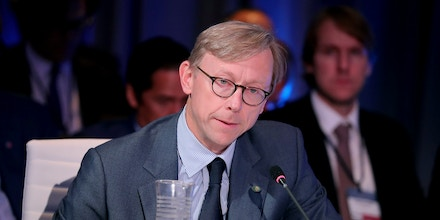 NEW YORK, NY - SEPTEMBER 19: Brian Hook, Director of Policy Planning, U.S. Department of State, speaks at The 2017 Concordia Annual Summit at Grand Hyatt New York on September 19, 2017 in New York City.  (Photo by Paul Morigi/Getty Images for Concordia Summit)