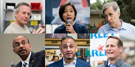 Some of the self-funded Democrats running for election in California. Clockwise from top left: Hans Keirstead, Mai-Khanh Tran, Andy Thorburn, Harley Rouda, Gil Cisneros, and Omar Siddiqui.
