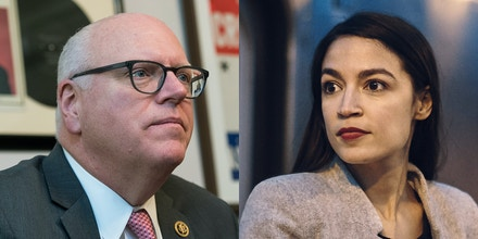 Joe Crowley, left, and Alexandria Ocasio-Cortez participated in their first and only debate on June 15, 2018.