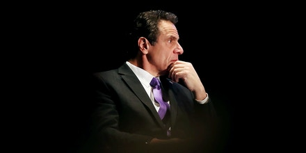 NEW YORK, NY - MARCH 09: New York Governor Andrew Cuomo watches as former Vice President Al Gore speaks at an event at New York University, denouncing the Trump administration's proposal to open up new areas to offshore drilling, on March 9, 2018 in New York City. The two Democrats spoke on the negative environmental impact drilling, spills and underwater blasts could have on New York City.  (Photo by Spencer Platt/Getty Images)