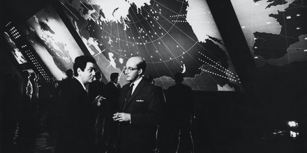 Peter Sellers as Dr. Strangelove and President Merkin Muffley in the 1964 Stanley Kubrick classic Dr. Strangelove or: How I Learned to Stop Worrying and Love the Bomb. (Photo by  John Springer Collection/CORBIS/Corbis via Getty Images)