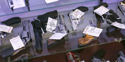 DELRAY BEACH, FL - JANUARY 05: Handguns are seen on display at the K&W Gunworks store on the day that U.S. President Barack Obama in Washington, DC announced his executive action on guns on January 5, 2016 in Delray Beach, Florida.  President Obama announced several measures that he says are intended to advance his gun safety agenda.  (Photo by Joe Raedle/Getty Images)
