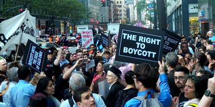 633 3RD AVENUE, NEW YORK  NY  USA, NEW YORK, UNITED STATES - 2016/06/09: Around 300 people protest  outside Governor Andrew Cuomo's office in New York City. Palestinian human rights has reached a critic point as Gov. Cuomo just signed a McCarthyism executive order requiring state agencies to divest from organizations that support the Palestinian call to boycott companies profiting from, or cultural or academic institutions complicit in, Israel's oppression of the Palestinian people. Furthermore, the order requires the creation of a publicly available blacklist of all companies and institutions that support the movement.The protest organized by Adalah-NY, The New York Campaign for the Boycott of Israel, Jewish Voice for Peace-NY, and Jews Say No!. (Photo by Mark Apollo/Pacific Press/LightRocket via Getty Images)