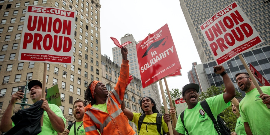 NEW YORK, NY - JUNE 27: Union activists and supporters rally against the Supreme Court's ruling in the Janus v. AFSCME case, in Foley Square in Lower Manhattan, June 27, 2018 in New York City. In a 5-4 decision, the Supreme Court ruled on Wednesday that public employee unions cannot require non-members to pay fees. The ruling will have significant financial impacts for organized labor. (Photo by Drew Angerer/Getty Images)