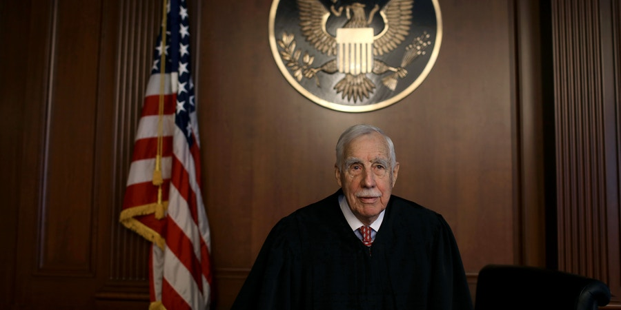 Ninety-five year old Judge Robert Sweet in a courtroom.