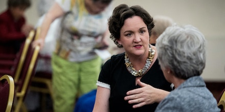 Katie Porter, a Democrat running for the California 45th Congressional district, speaks to seniors at the Laguna Woods Towers in Laguna Woods, Calif., on May 19, 2018.