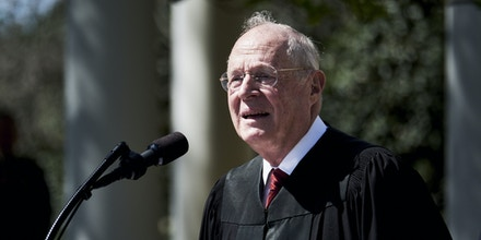 Associate Justice Anthony Kennedy speaks before administering the oath of office to Judge Neil Gorsuch as U.S. Supreme Court associate justice in the Rose Garden at the White House in Washington, D.C., U.S., on Monday, April 10, 2017. U.S. President Donald Trump said Gorsuch is