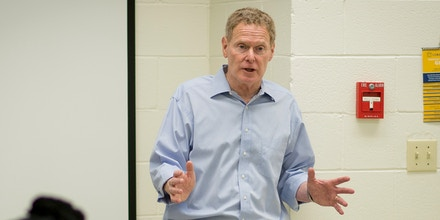 Candidate Mal Hyman teaching at Coker College.