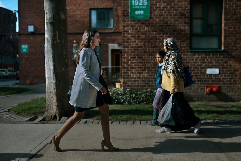 Congressional candidate Alexandria Ocasio-Cortez, walks at her neighborhood in Bronx,  New York, Saturday, April 21, 2018. (Photo: Andres Kudacki)