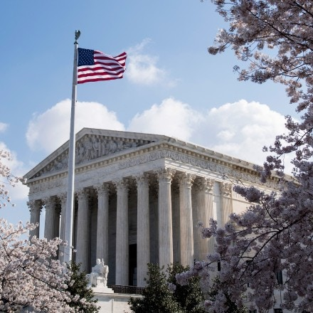 UNITED STATES - APRIL 10: Cherry blossoms frame the U.S. Supreme Court building in Washington on Tuesday, April 10, 2018. (Photo By Bill Clark/CQ Roll Call) (CQ Roll Call via AP Images)