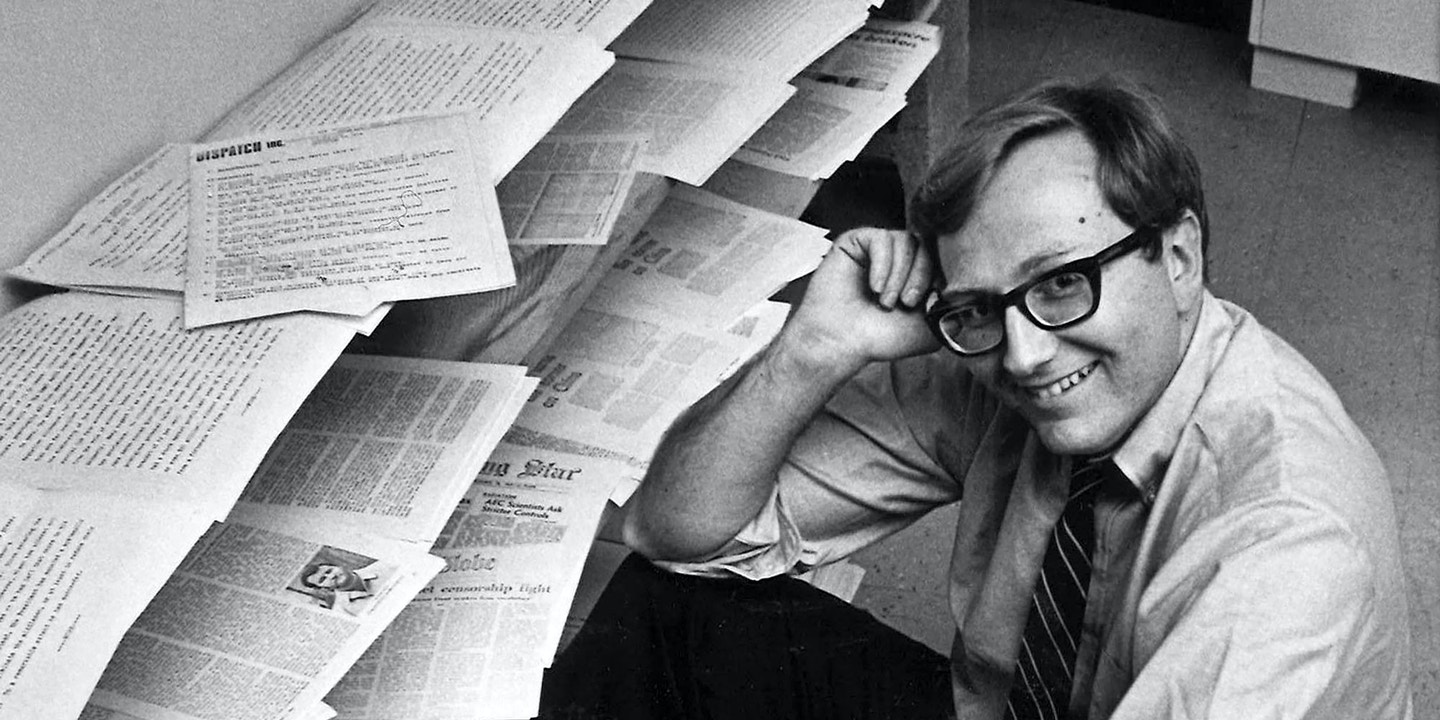 Seymour M. Hersh sits in the furnitureless office of Dispatch News Service in Washington, May 4, 1970, after being awarded the Pulitzer Prize for international reporting. Hersh disclosed the alleged massacre of Vietnamese civilians at My Lai. (AP Photo/Bob Daugherty)
