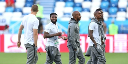KALININGRAD, RUSSIA - JUNE 28:  Danny Rose of England speaks with teammates during a pitch inspection prior to the 2018 FIFA World Cup Russia group G match between England and Belgium at Kaliningrad Stadium on June 28, 2018 in Kaliningrad, Russia.  (Photo by Alex Morton/Getty Images)