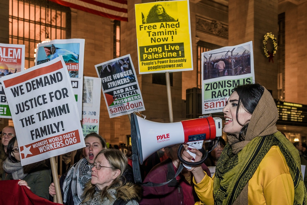 GRAND CENTRAL STATION, NEW YORK, UNITED STATES - 2018/01/05: Nerdeen Kiswani from NYC Students for Justice in Palestine - Hundreds of New Yorkers joined Palestinian advocacy groups to participate on an emergency rally calling out for the immediate release of 16 year old Ahed Tamimi and all Palestinian prisoners abducted and imprisoned by Israeli Occupation Forces. (Photo by Erik McGregor/Pacific Press/LightRocket via Getty Images)