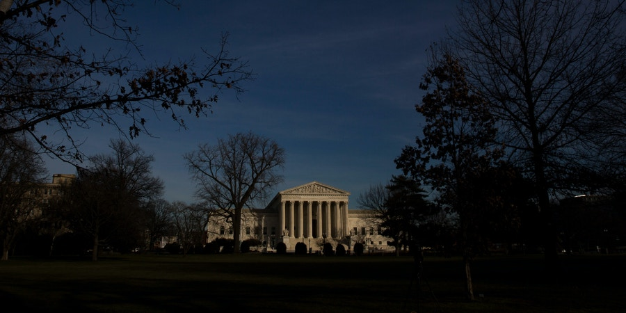 WASHINGTON, DC - FEBRUARY 14: The U.S. Supreme Court is seen in the late afternoon on February 14, 2016 in Washington, DC. Supreme Court Justice Antonin Scalia was at a Texas Ranch Saturday morning when he died at the age of 79. (Photo by Drew Angerer/Getty Images)