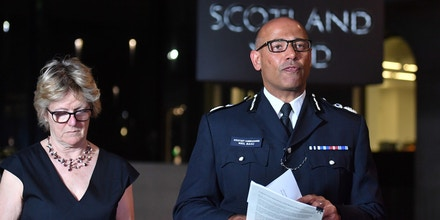 Amesbury incident. The UK's head of counter-terrorism policing Neil Basu and chief medical officer for England Dame Sally Davies speaking at a news conference at New Scotland Yard in London after a couple were left in a critical condition when they were exposed to the nerve agent Novichok in Amesbury, Wiltshire. Picture date: Wednesday July 4, 2018. See PA story POLICE Amesbury. Photo credit should read: John Stillwell/PA Wire URN:37380085 (Press Association via AP Images)