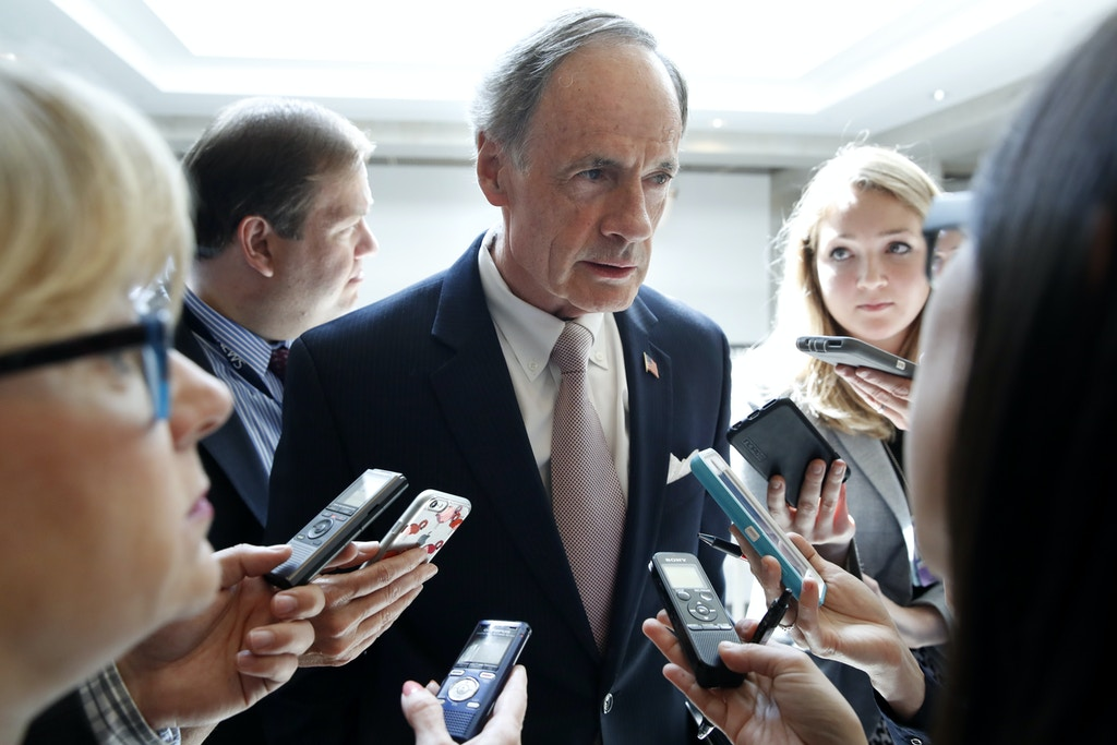 Sen. Tom Carper, D-Del., speaks with reporters after leaving a briefing of the full Senate by Deputy Attorney General Rod Rosenstein, amid controversy over President Donald Trump's firing of FBI Director James Comey, at the Capitol, Thursday, May 18, 2017, in Washington. (AP Photo/Jacquelyn Martin)
