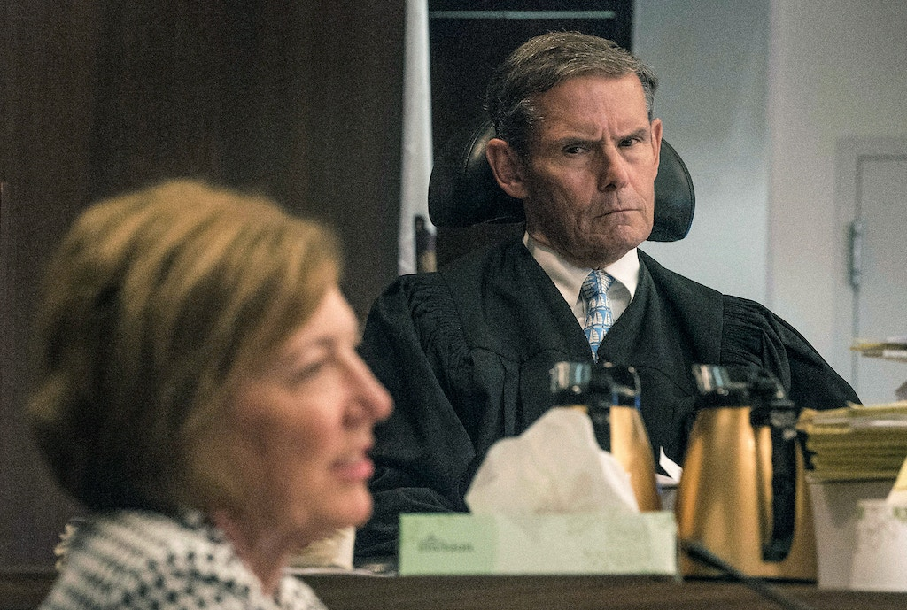 Judge Thomas Goethals listens to the testimony of Orange County Sheriff Sandra Hutchens during an evidentiary hearing for convicted murder Scott Dekraai at the Santa Ana Central Justice Center in Santa Ana, Calif., on Wednesday, July 5, 2017. (Nick Agro/The Orange County Register via AP)