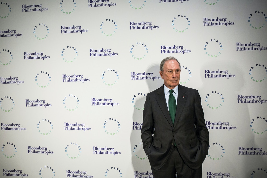 Former New York mayor and United Nations special envoy for cities and climate change, Michael Bloomberg before a dinner on the eve of the One Planet Summit on December 11, 2017 at the Grand Palais in Paris, France on december 11, 2017. Photo by Romain Gaillard/pool/Abaca/Sipa USA(Sipa via AP Images)