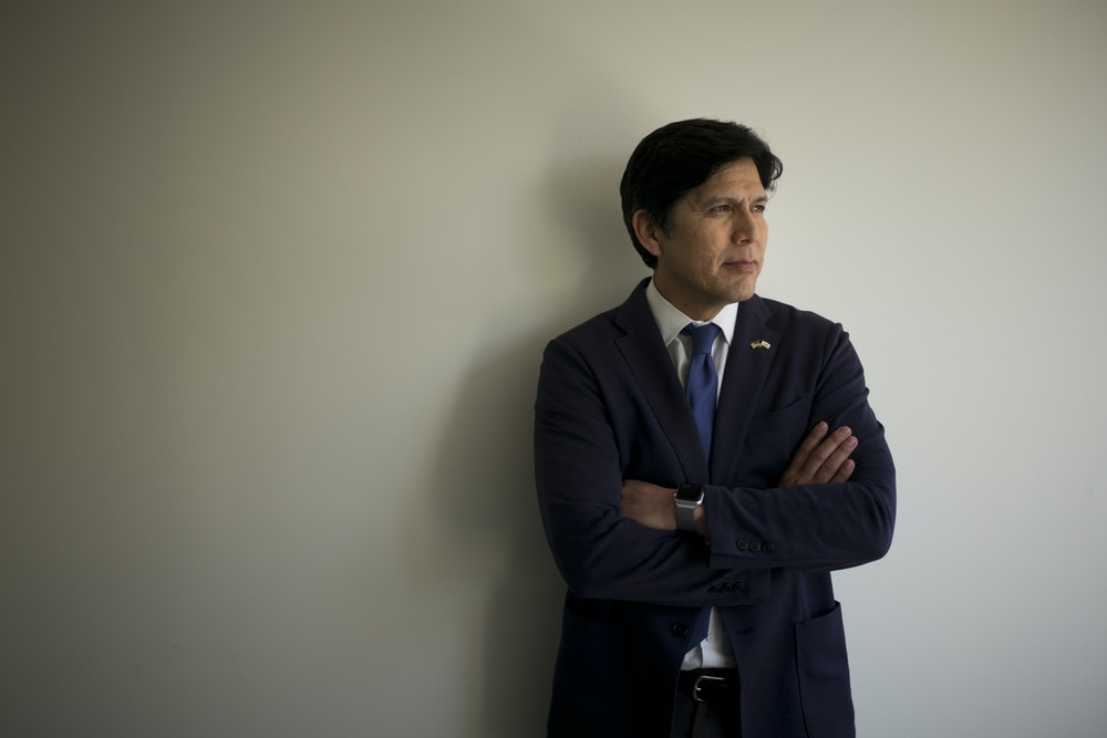 California state Senate President pro Tempore Kevin de Leon, D-Los Angeles, poses for photos in his campaign office, Thursday, May 3, 2018, in Los Angeles. In the California Primary election, de Leon is challenging fellow Democrat, incumbent U.S. Sen. Dianne Feinstein, for her senate seat. (AP Photo/Jae C. Hong)
