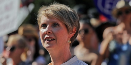 New York gubernatorial candidate Cynthia Nixon speaks during a pro-choice rally, Tuesday, July 10, 2018, in New York. Many Democrats and abortion-rights supporters believe a new conservative justice could tilt the court in favor of overturning Roe v. Wade. (AP Photo/Julie Jacobson)