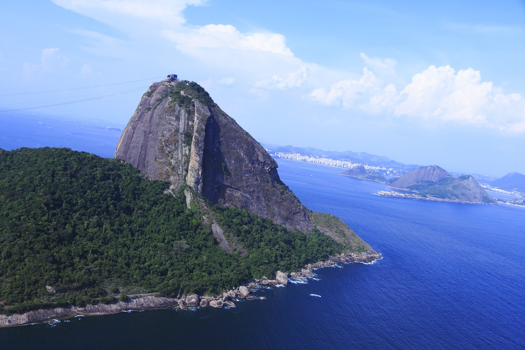 Aerial view of Sugarloaf mountain and the historic fort of Niteroi (r) Photo by: Chris Wallberg/picture-alliance/dpa/AP Images