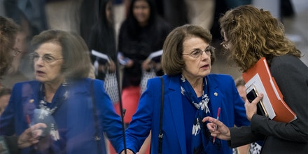 UNITED STATES - JULY 10: Sen. Dianne Feinstein, D-Calif., arrives for the Senate Democrats' policy lunch in the Capitol on Tuesday, July 10, 2018, the day after President Donald Trump nominated Brett Kavanaugh to the Supreme Court. (Photo By Bill Clark/CQ Roll Call) (CQ Roll Call via AP Images)