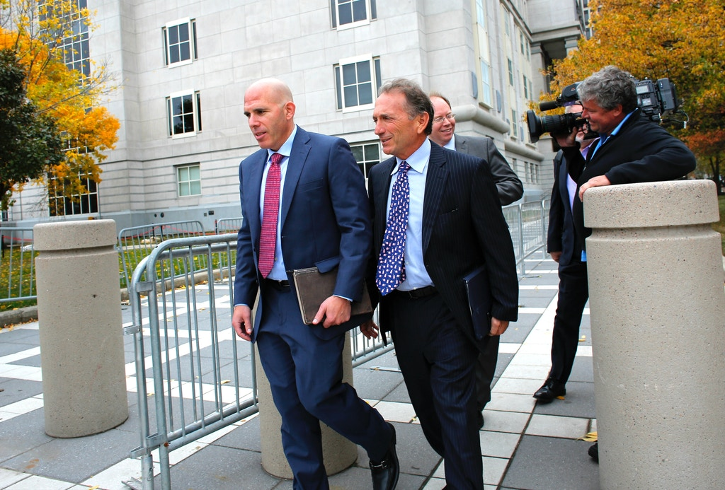 NEWARK, NJ - OCTOBER 20:  Scott Rechler (L) the former Port Authority vice chairman, leaves after testifiing at the Bridgegate trial at the Martin Luther King, Jr. Federal Courthouse on October 20, 2016 in Newark, New Jersey. Rechler testimony contradicts public comments the New York Gov. Andrew Cuomo and New Jersey Gov. Chris Christie have made denying they talked about the Fort Lee lane closures to the George Washington Bridge.  (Photo by Kena Betancur/Getty Images)