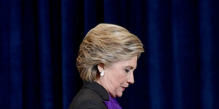 US Democratic presidential candidate Hillary Clinton steps down a staircase after making a concession speech following her defeat to Republican presidential-elect Donald Trump, in New York on November 9, 2016. / AFP / JEWEL SAMAD        (Photo credit should read JEWEL SAMAD/AFP/Getty Images)