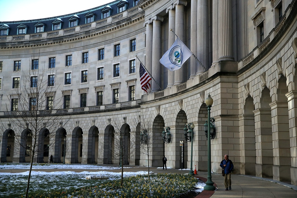 WASHINGTON, DC - MARCH 16:  A view of the U.S. Environmental Protection Agency (EPA) headquarters on March 16, 2017 in Washington, DC. U.S. President Donald Trump's proposed budget for 2018 seeks to cut the EPA's budget by 31 percent from $8.1 billion to $5.7 billion.  (Photo by Justin Sullivan/Getty Images)