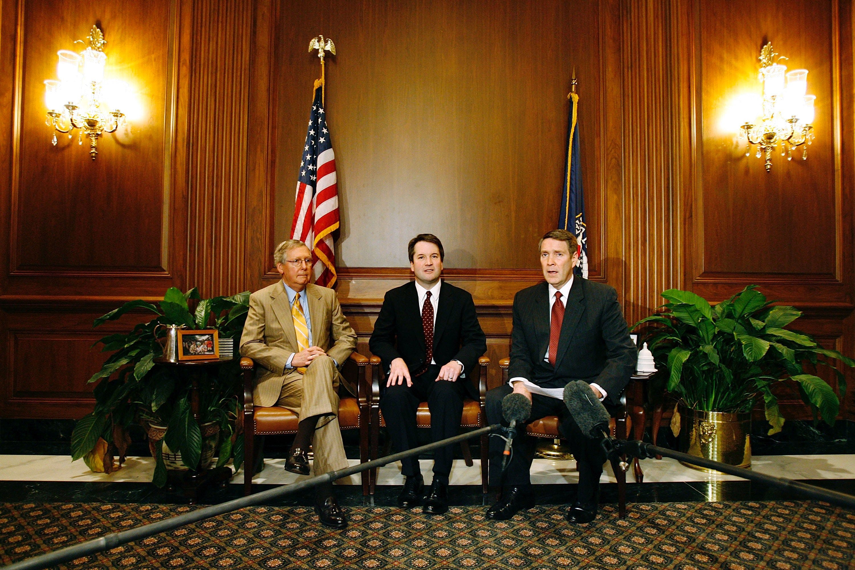 WASHINGTON - MAY 22: (L-R) U.S. Senate Majority Whip Mitch McConnell (R-KY), District of Columbia Circut Court of Appeals nominee Brett Kavanaugh and Senate Majority Leader Bill Frist (R-TN) hold a news conference in the Capitol May 22, 2006 in Washington, DC. Frist said that Kavanaugh deserves a straight up-or-down vote in the Senate. (Photo by Chip Somodevilla/Getty Images)