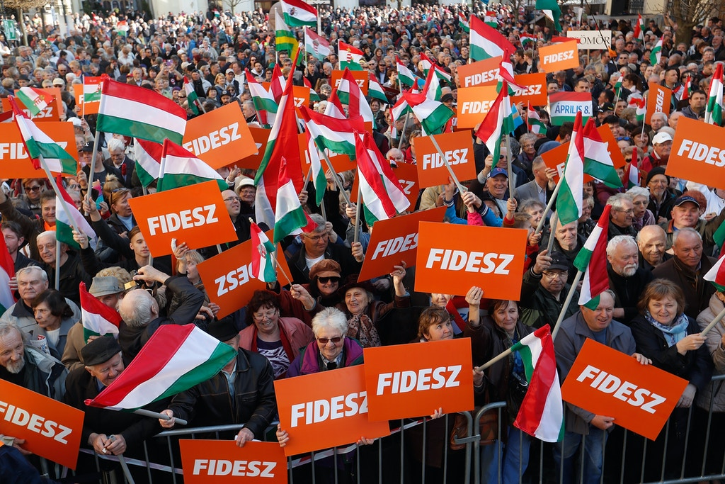 SZEKESFEHERVAR, HUNGARY - APRIL 06: Supporters of the Fidesz party attend a campaign closing rally on April 6, 2018 in Szekesfehervar, Hungary. Hungary will hold a parliamentary election on April 8, 2018. (Photo by Laszlo Balogh/Getty Images)