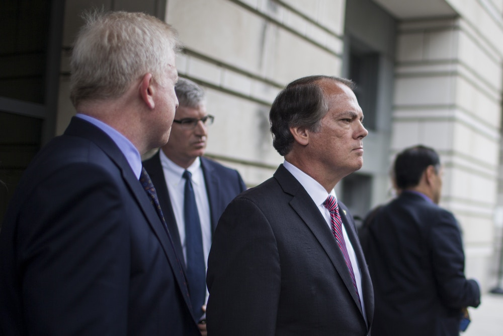 WASHINGTON, DC - JUNE 13: Former Director of Security for the Senate Intelligence Committee James Wolfe leaves U.S. District Court on June 13, 2018 in Washington, DC. Wolfe, who is charged with lying to the FBI about his contacts with reporters, pleaded not guilty.  (Photo by Zach Gibson/Getty Images)