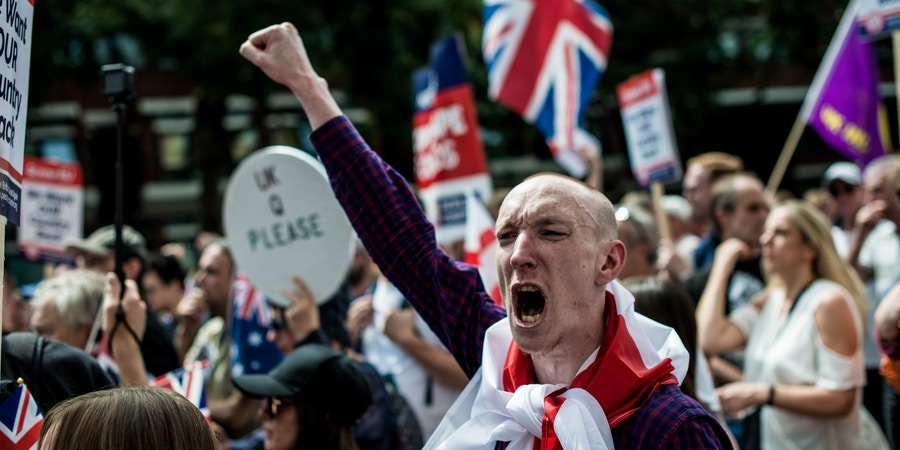 LONDON, UNITED KINGDOM - JUNE 24: Anti-Brexit supporters take part in People's Vote rally in Parliament Square on a second anniversary of the Brexit referendum on June 24, 2018 in London, England.Demonstrators demand that the final terms of the Brexit deal negotiated by the government are put before British citizens in a public vote. June 23, 2018 in London, England.PHOTOGRAPH BY Brais G. Rouco / Barcroft Images (Photo credit should read Brais G. Rouco / Barcroft Images / Barcroft Media via Getty Images)