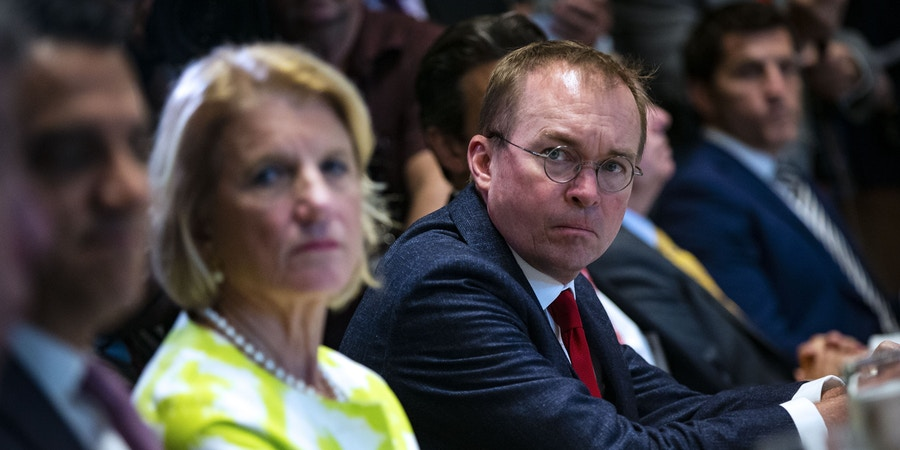 WASHINGTON, DC - JUNE 26: Mick Mulvaney, director of the Office of Management and Budget (OMB), attends a lunch meeting for Republican lawmakers in the Cabinet Room at the White House June 26, 2018 in Washington, DC. The president called the Supreme Court's 5-4 ruling in favor of the administration's travel ban a