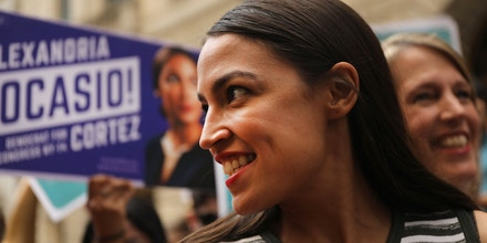 NEW YORK, NY - JULY 12:  Congressional nominee Alexandria Ocasio-Cortez stands with Zephyr Teachout after endorsing her for New York City Public Advocate on July 12, 2018 in New York City. The two liberal candidates held the news conference in front of the Wall Street bull in a show of standing up to corporate money. Ocasio-Cortez shocked the Democratic political community recently after an upset win against Representative Joe Crowley in the New York Democratic primary.  (Photo by Spencer Platt/Getty Images)