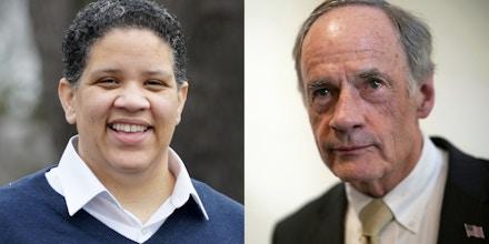 Kerri Evelyn Harris, left, and Sen. Tom Carper, D-Delaware.