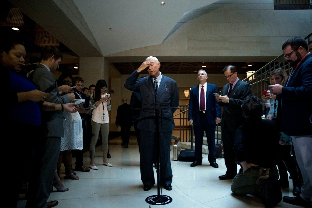 "Longtime Donald Trump associate Roger Stone pauses while speaking to members of the media after testifying before the House Intelligence Committee, on Capitol Hill, Tuesday, Sept. 26, 2017, in Washington. Stone says there is ""not one shred of evidence"" that he was involved with Russian interference in the 2016 election. Stone's interview comes as the House and Senate intelligence panels are looking into the Russian meddling and possible links to Trump's campaign. (AP Photo/Andrew Harnik)"