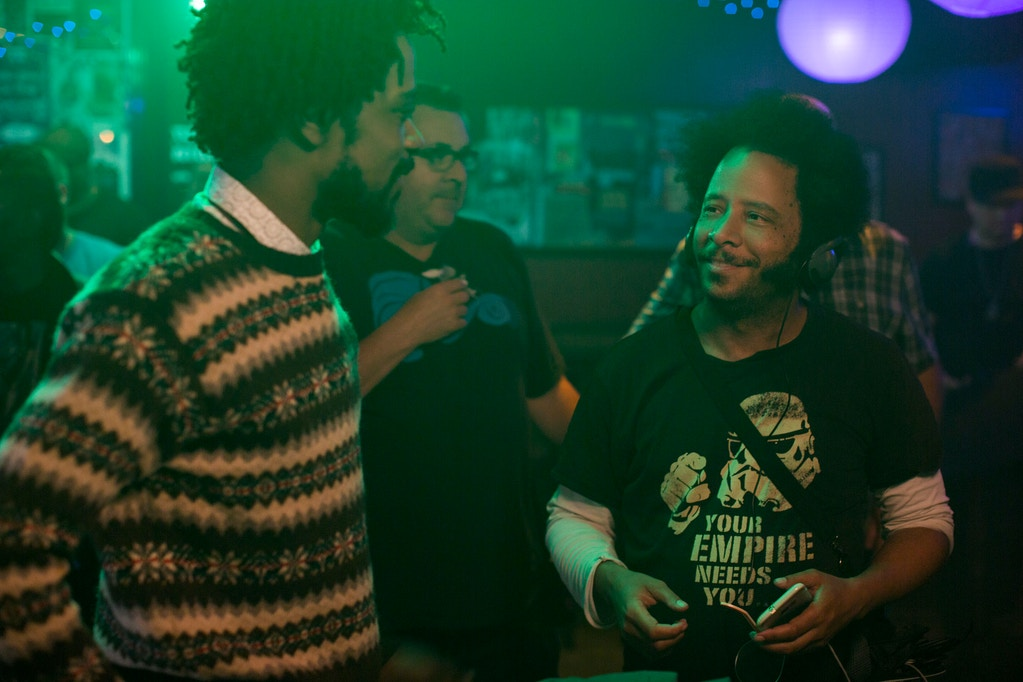 (l to r.) Lakeith Stanfield and director Boots Riley on the set of SORRY TO BOTHER YOU, an Annapurna Pictures release.