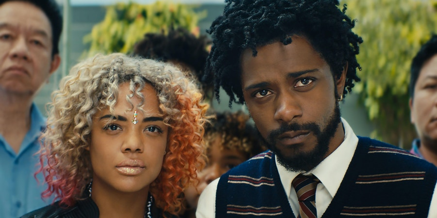 (l to r.) Tessa Thompson as Detroit and Lakeith Stanfield as Cassius Green star in director Boots Riley's SORRY TO BOTHER YOU, an Annapurna Pictures release.