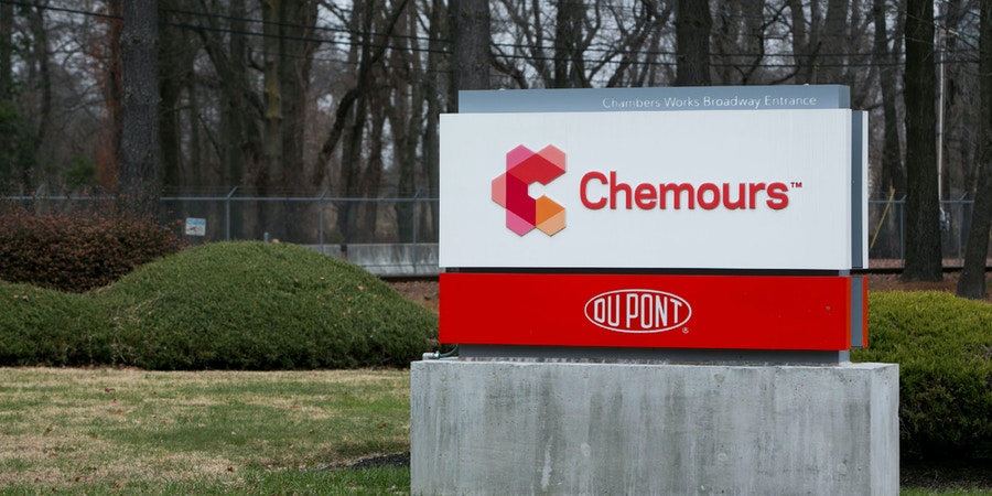 A logo sign outside of a facility occupied by The Chemours Company in Penns Grove, New Jersey on December 11, 2016. Photo by Kristoffer Tripplaar *** Please Use Credit from Credit Field ***(Sipa via AP Images)