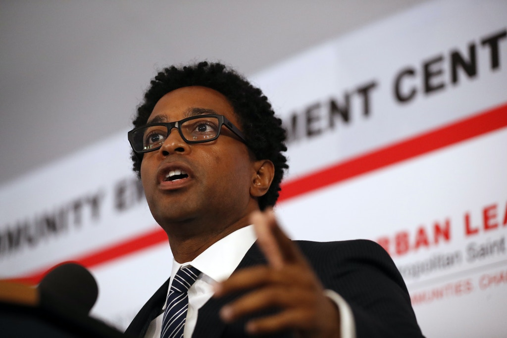 Ferguson city council member Wesley Bell speaks during the dedication of a new community empowerment center Wednesday, July 26, 2017, in Ferguson, Mo. The $3-million Ferguson Community Empowerment Center was built on the property where a QuikTrip convenience store was burned during rioting after a white officer fatally shot Michael Brown nearly three years ago. (AP Photo/Jeff Roberson)