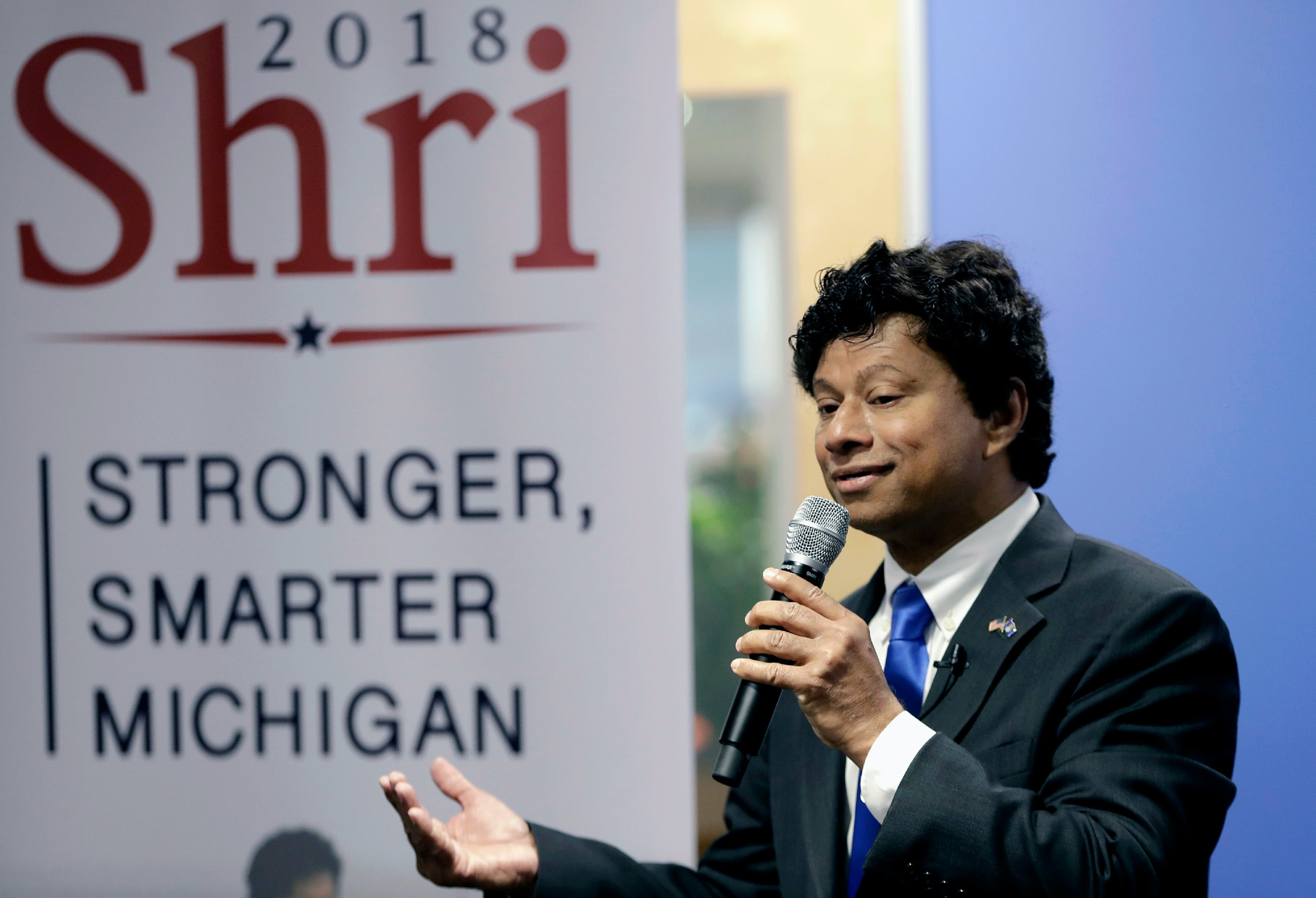 FILE - In this June 8, 2017, file photo, Shri Thanedar, announces his candidacy for Michigan governor in Detroit. Thannedar, a Democrat, faces Gretchen Whitmer and Abdul El-Sayed in the Aug. 7, 2018 primary. (AP Photo/Carlos Osorio, File)