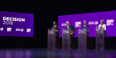 Letitia James, from left, Sean Patrick Maloney, Leecia Eve and Zephyr Teachout debate for New York State Attorney General during a Democratic Primary at John Jay College of Criminal Justice in the Manhattan borough of New York on Tuesday, Aug. 28, 2018. (Holly Pickett/The New York Times via AP, Pool)
