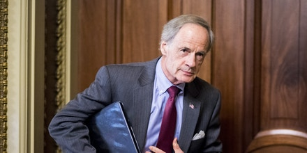 UNITED STATES - JUNE 14: Sen. Tom Carper (D-DE) leaves the weekly Senate Democrats' policy lunch in the Capitol on Tuesday, June 14, 2016. (Photo By Bill Clark/CQ Roll Call) (CQ Roll Call via AP Images)