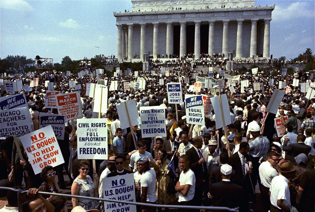 Crowds shown in front of the Lincoln Memorial during the March on Washington for civil rights, August 28, 1963.  (AP Photo)