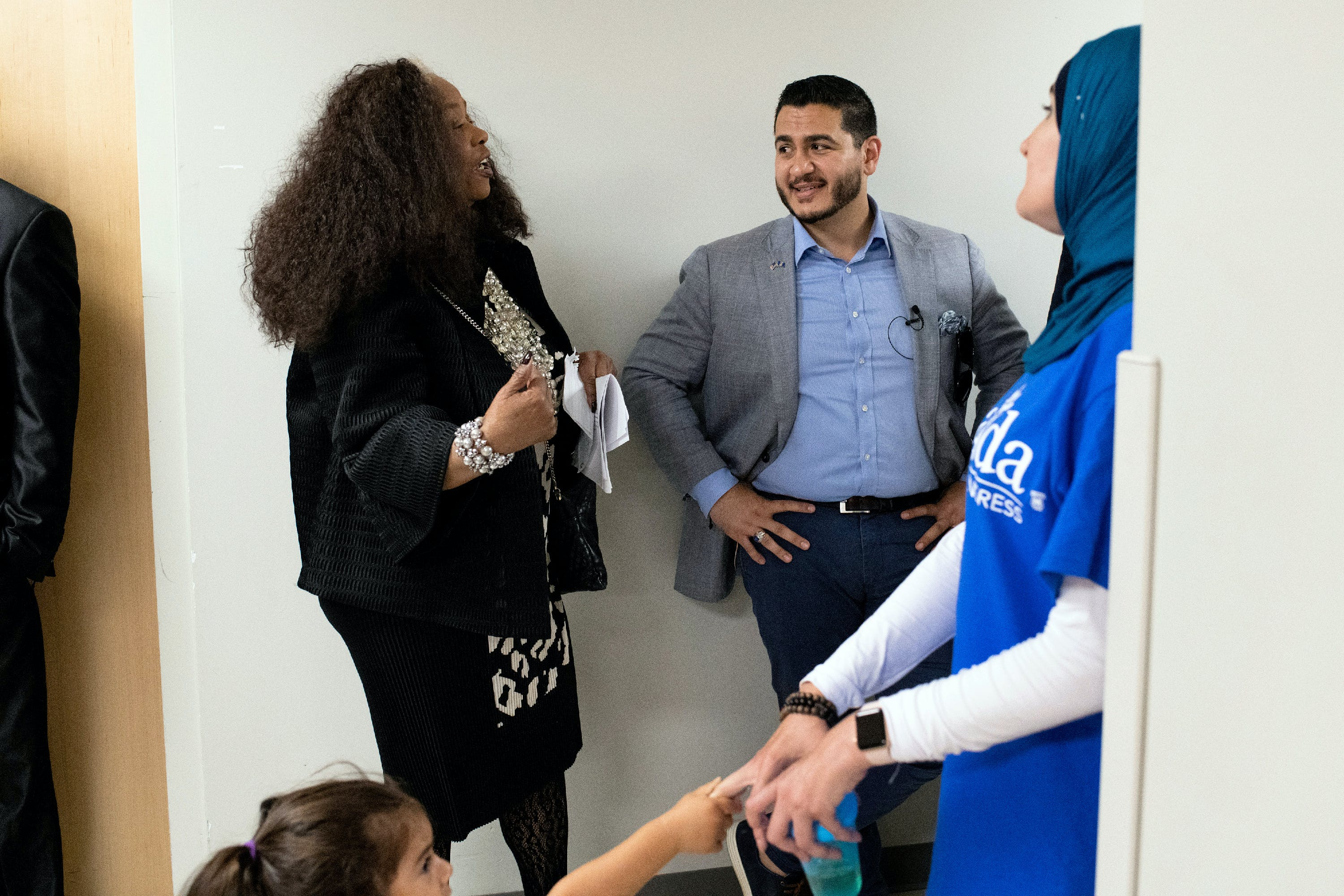 From left, Virgie Rollins, Chair of the Democratic National Committee (DNC) Black Caucus, talks to Michigan Democratic Gubernatorial candidate Abdul El-Sayed backstage during El-Sayed's campaign rally with Alexandria Ocasio-Cortez at the Wayne State University Student Center in Detroit, Michigan on Saturday, July 28, 2018. (Rachel Woolf for The Intercept)