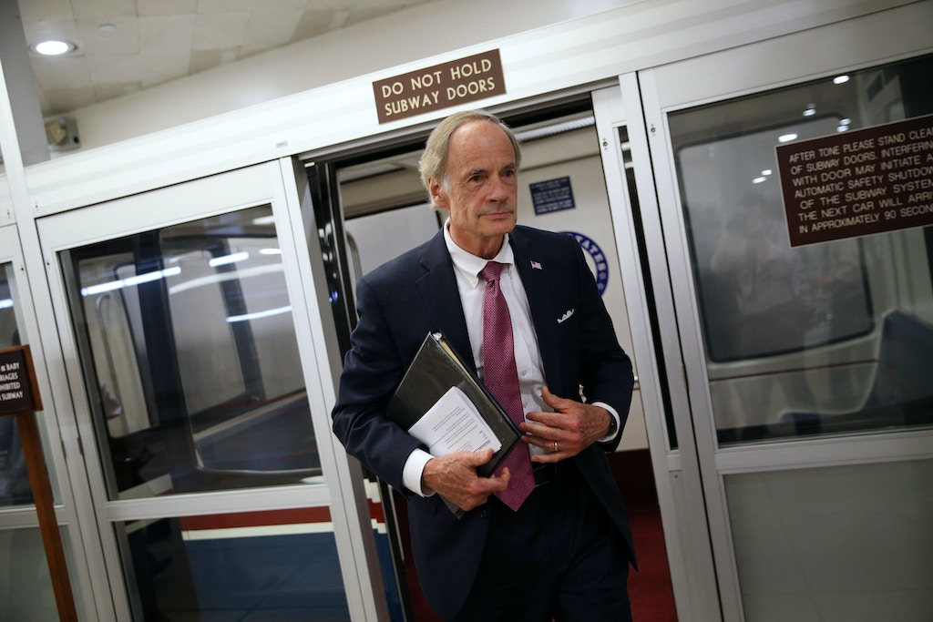 WASHINGTON, DC - JULY 24: Sen. Tom Carper (D-DE) speaks to reporters as he arrives for the weekly Senate Democrat's policy luncheon, on Capitol Hill, on July 24, 2018 in Washington, DC. (Photo by Al Drago/Getty Images)